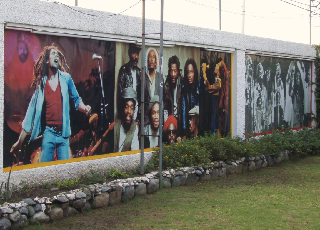 A wall in the Bob Marley Museum