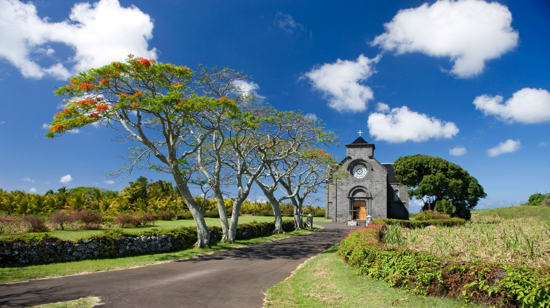 Beautiful churches dot the countryside in Mauritius