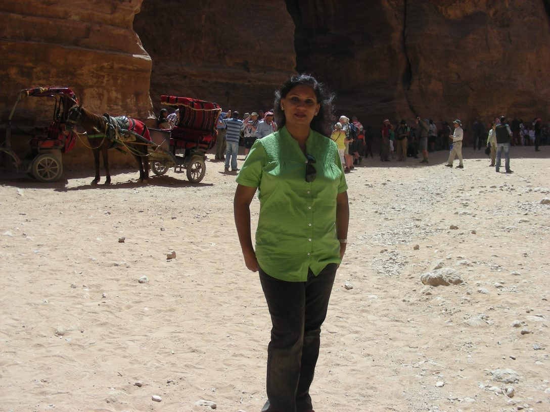 That's me--Manjari Bhatnagar--at the Treasury in Petra.