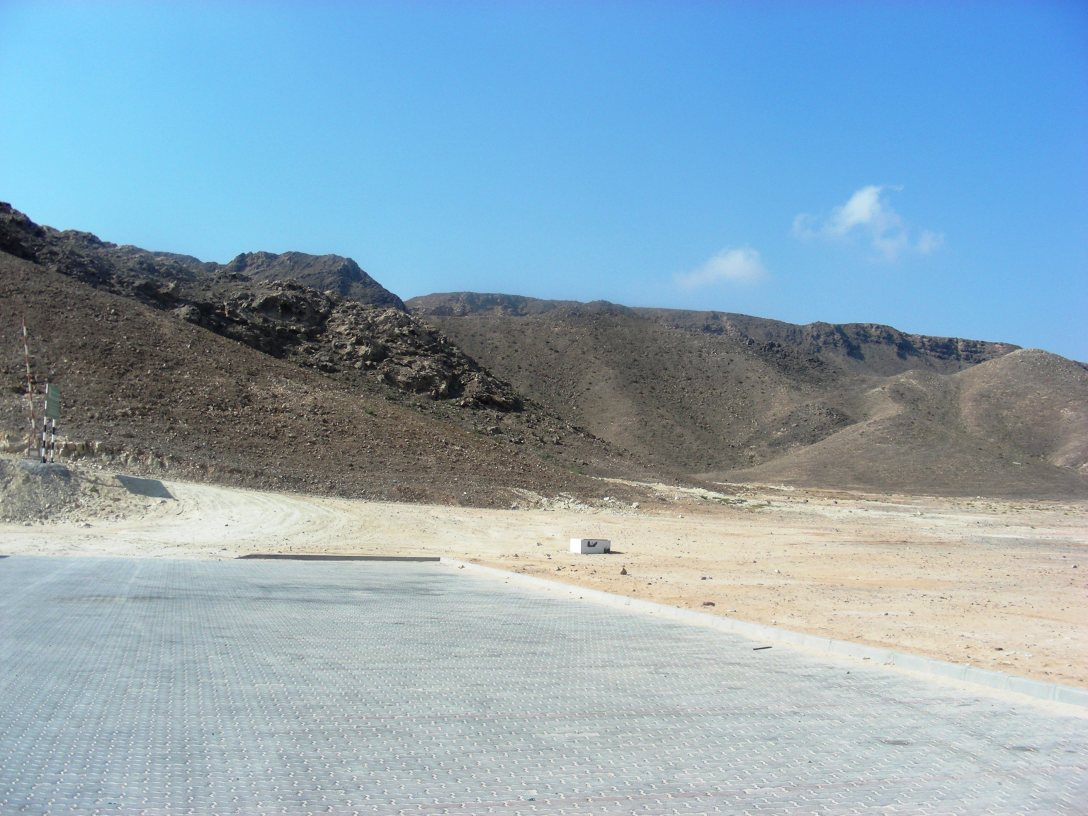 The parking area at the Ras al Jinz Scientific and Visitors Centre